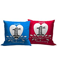 Tied Ribbons 1st Marriage Anniversary Gift Set of 2 Printed Cushion (12 Inch X 12 Inch) with Filler, Multicolour