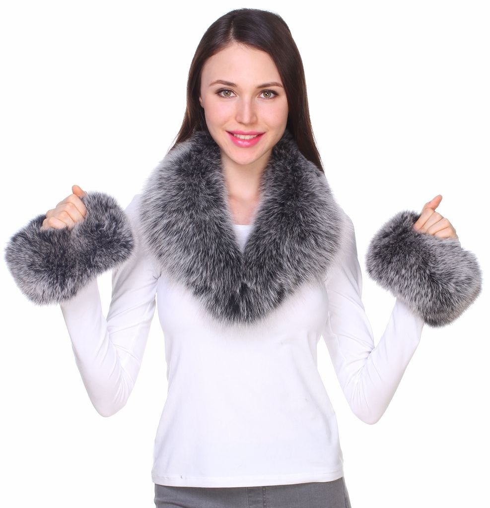 Ferand Women's Gorgeous Genuine Black Frost Fox Fur Shawl Collar with Matching Cuffs for Parka Leather Jacket Winter Coat,31.5 inch by Ferand