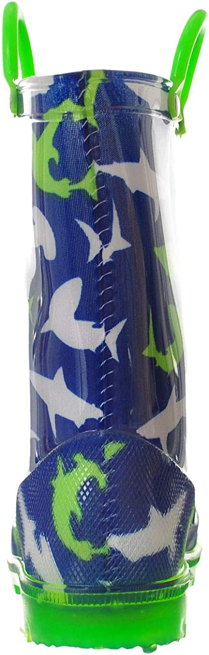 Navy LILLY Boys Light-Up Rubber Rain Boots 5 Toddler