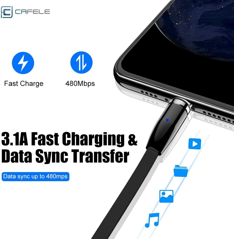 Magnetic Charging Cable Universal 3 in 1 Magnet Charger Compatible with Type-C Micro USB Port Phone Tablet and More Black//3.3ft CAFELE Retractable Cable USB 3A Fast Charging Cord with LED Light
