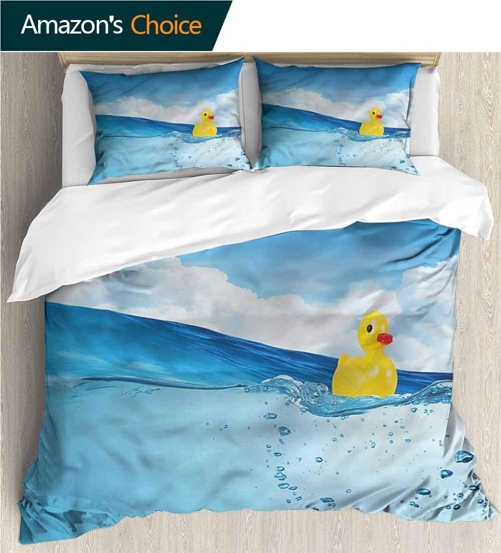 carmaxs-home 3D Bedding Quilt Set,Box Stitched,Soft,Breathable,Hypoallergenic,Fade Resistant Reversible Coverlet,Bedspread,Gifts for Girls Women-Rubber Duck Swimming in Pool (90'' W x 90'' L)