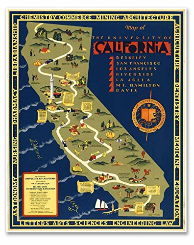 "Map of the University of California - circa 1939 - measures 30"" high x 24"" wide (762mm high x 610mm wide)"