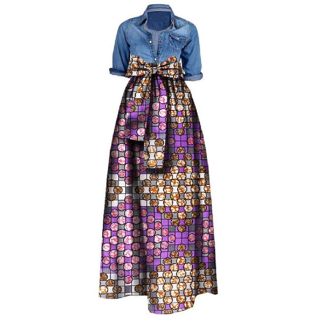 16 Fieer Womens BowKnot Draped Swing Floral African Print Cotton Skirt