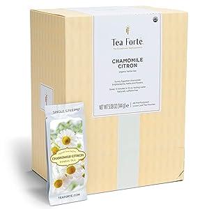 Tea Forte Chamomile Citron Herbal Tea, Single Steeps Bulk Pack Loose Leaf Tea Sampler, 48 Single Serve Pouches