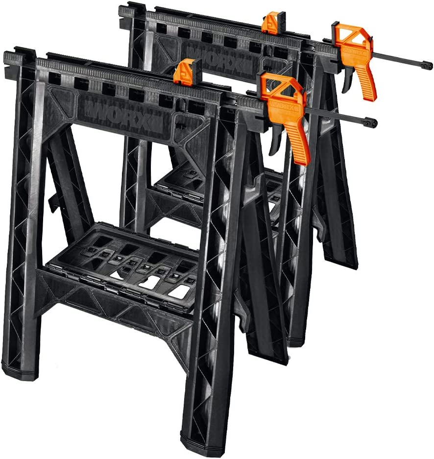 WORX Clamping Sawhorse Pair with Bar Clamps, Built-in Shelf and Cord Hooks