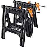 WORX Clamping Sawhorse Pair with Bar Clamps, Built-in Shelf and Cord Hooks – WX065
