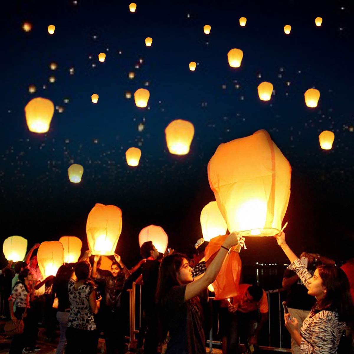 (Pack of 20) Chinese Lanterns ECO Friendly - 100% Biodegradable- Beautiful Lanterns for White Flying Wish Lanterns, Birthdays, Souvenirs