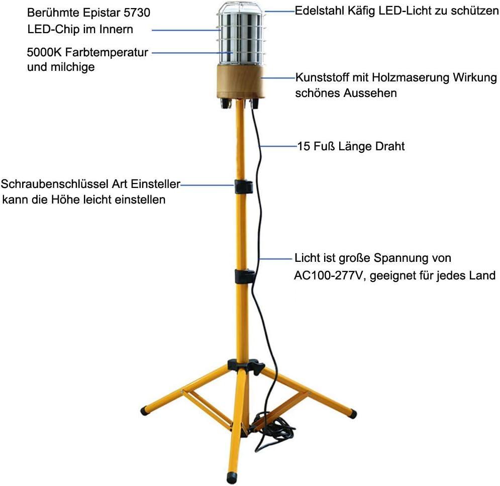 AC100-277V IP64 wasserdicht 360/° Rundstahl-Beleuchtung,Black Tripod Choen 60w Led Arbeitslicht Led Baustrahler mit/Stativ 6500LM