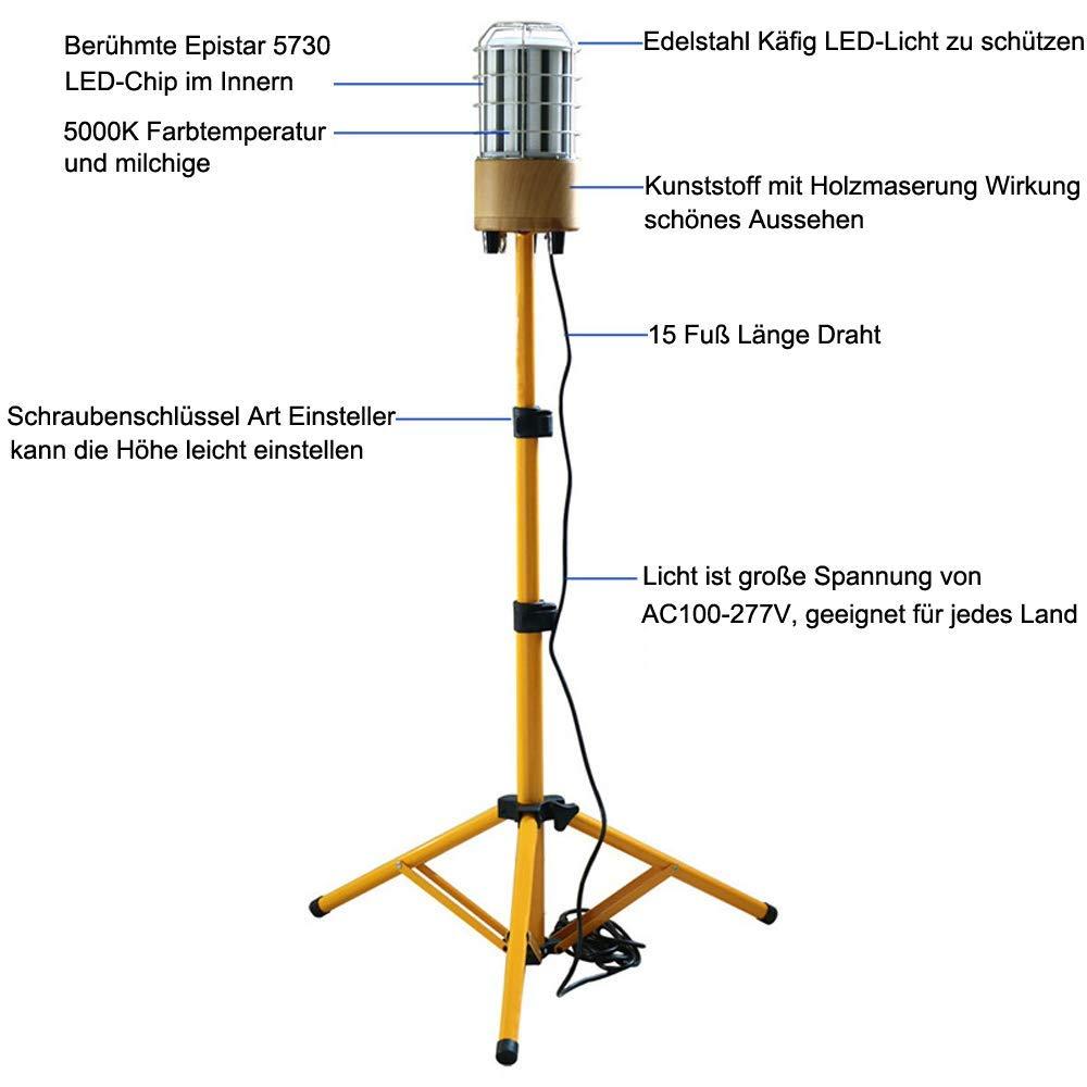 IP64 wasserdicht 360/° Rundstahl-Beleuchtung,Votage AC100-277V Choen 100w Led Arbeitslicht Led Baustrahler mit/Stativ 11000LM