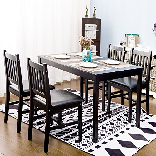 Harper&Bright Designs 5 Piece Wood Dining Table Set 4 Person Home Kitchen Table and Chairs (Espresso.) (Set Pine Dining)