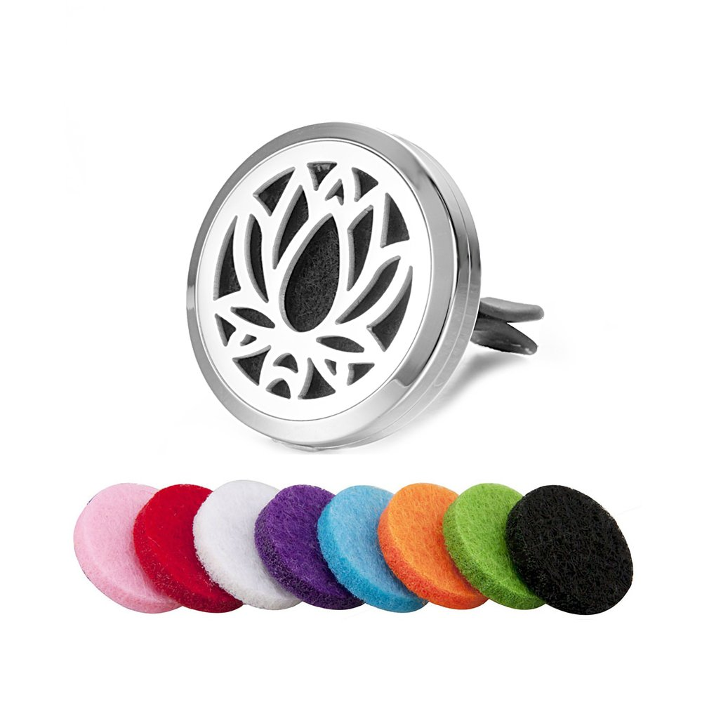EVERLEAD 30MM Essential Oil Locket Air Freshener for Car with AC Vent Clip (Style 15) EVERLEAD INC