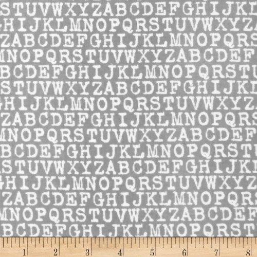 Robert Kaufman 0291494 Cozy Cotton Flannel Alphabet Fabric by The Yard, Grey