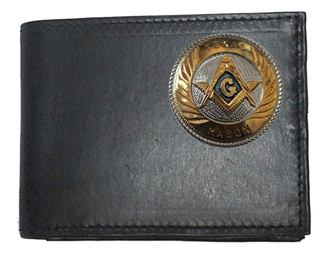 Proudly made in the USA. Custom Large Texas Mason Concho on a Black Harness Leather Bi-fold Wallet
