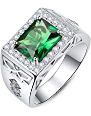 BONLAVIE Men's Wedding Engagement Rings Emerald Cut 810mm Created Green Emerald White Cubic Zirconia CZ Solid 925 Sterling Silver Bands Size 6-12
