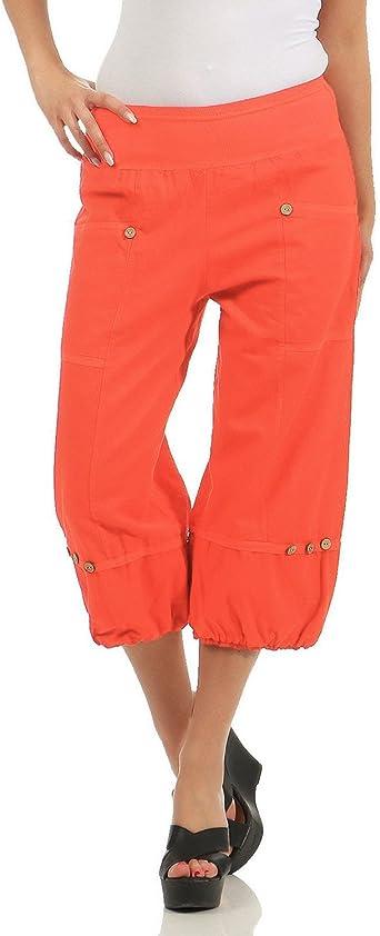 ZARMEXX Pantalones Capri de Lino de Mujer Pantalones de Verano Pantalones B/ásicos de Lino Knickerbocker Bermuda Pants