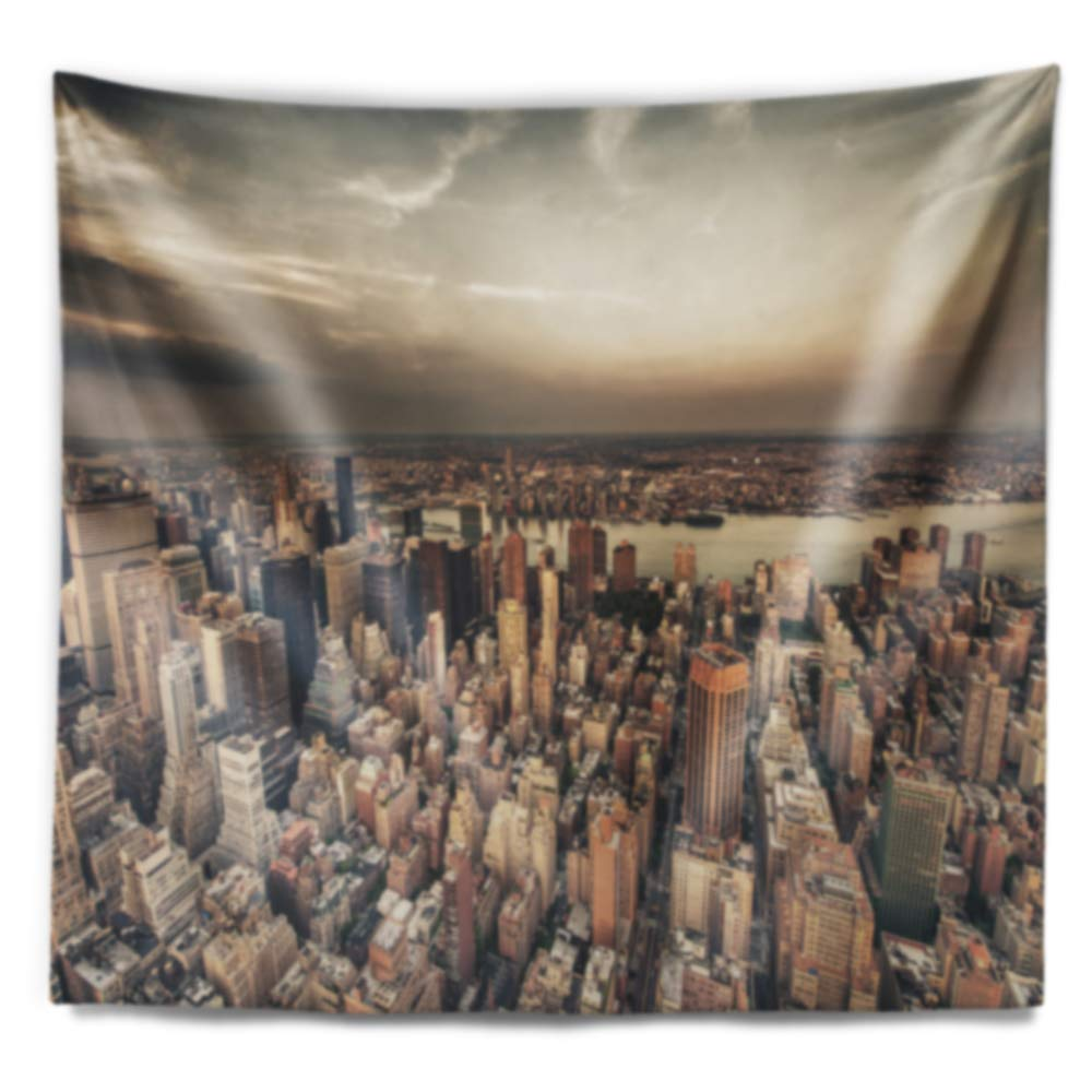 In Designart Tap14324 80 68 Manhattan Skyscrapers Aerial View Modern Cityscape Blanket Décor Art For Home And Office Wall Tapestry X Large X 68 In 80 In Home Kitchen Home Décor