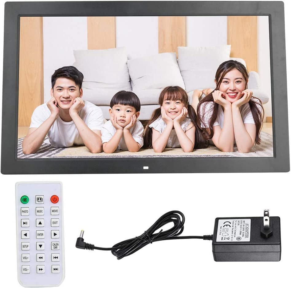 Digital Photo Frame,18inch Electronic Picture Frame 1366 * 768 HD Widescreen,HD Video Frame with WiFi Remote Control Supoort Clock//Calendar//MP3//AV//MPG// MP4,Gift for Family. White 16:9