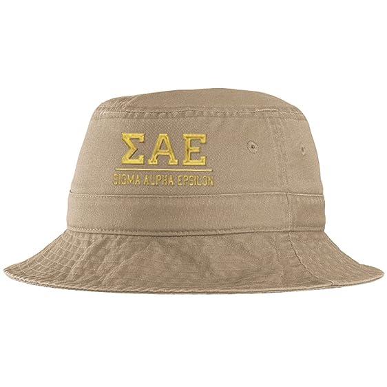 9981c4f6641cf Men s Sigma Alpha Epsilon SAE Fraternity Greek Letter Bucket Hat in Khaki