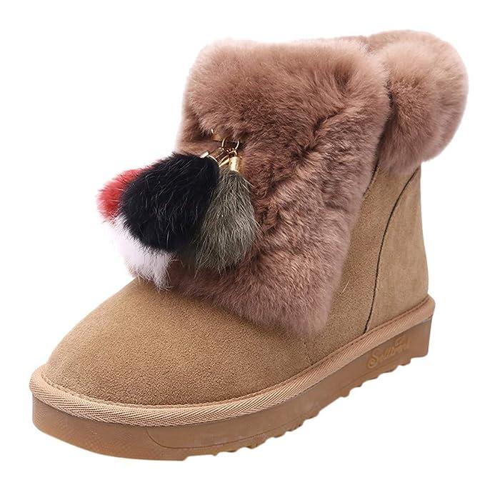 Mymyguoe Mujer Botas de Nieve Zapatos Invierno Calientes Botas Cortas de Invierno cálida para Mujer Botines