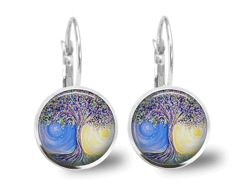 Árbol pendientes pendientes de sol y luna Celestial Jewelry