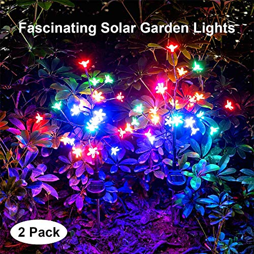(Solar Garden Lights Outdoor Beautiful Bright LED Solar Powered Landscape Lights for Pathway,Yard,Patio,Deck,Walkway Christmas Decoration- 2019 Solar Flickering Tree Lights (Multicolor-2Pack))