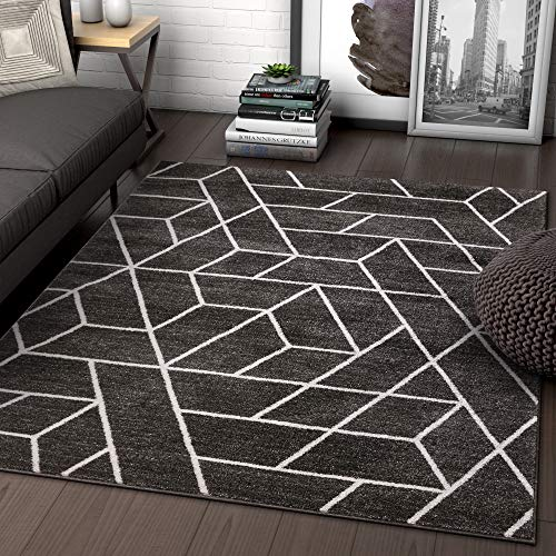 Well Woven Alli Geometric Grey Modern Abstract Geometric Shapes Area Rug 5x7 (5'3