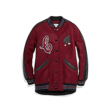 5aa8c81114 Coach Boyfriend Varsity Women s Jacket F24192 Crimson Black Size XS  (X-Small)