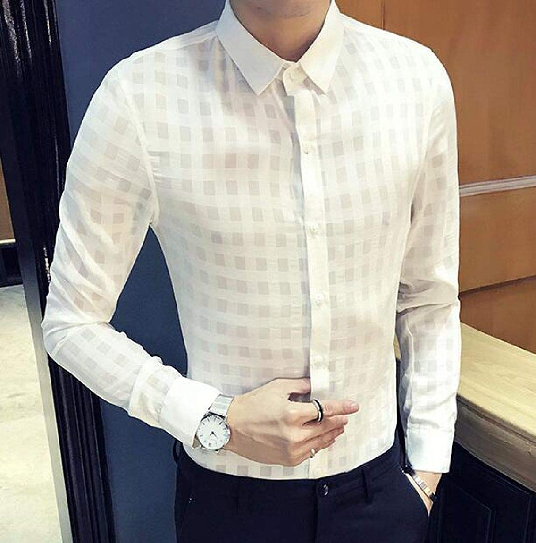 Domple Men Button Up Long Sleeve See Through Casual Slim Fit Shirt