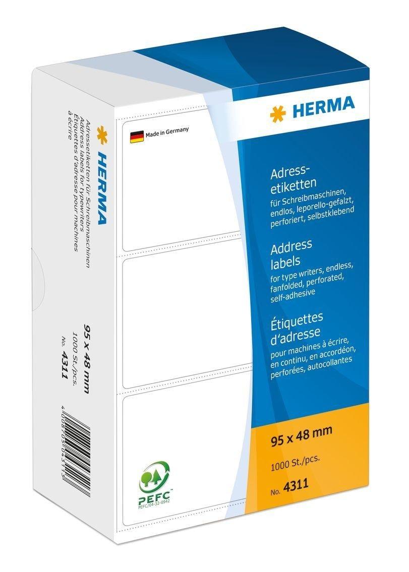 Adressetiketten Adressetiketten Adressetiketten 95x48mm 1000ST HERMA 4311 Leporello Lift Off 878798