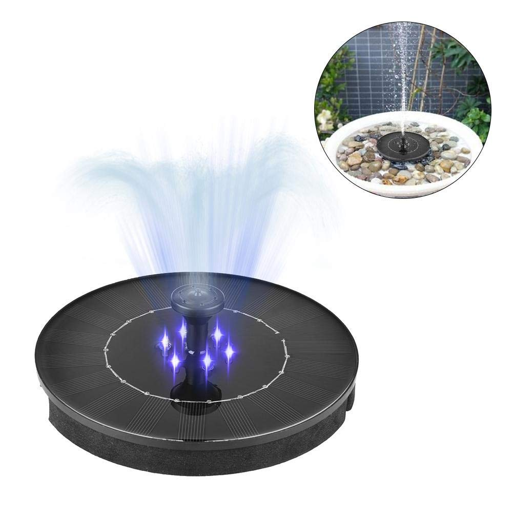 FuLanDe LED2.4W Solar Garden Mini Floating Fountain, LED Solar Water Fountain Pump LED Outdoor Suspension Round Solar Fountain