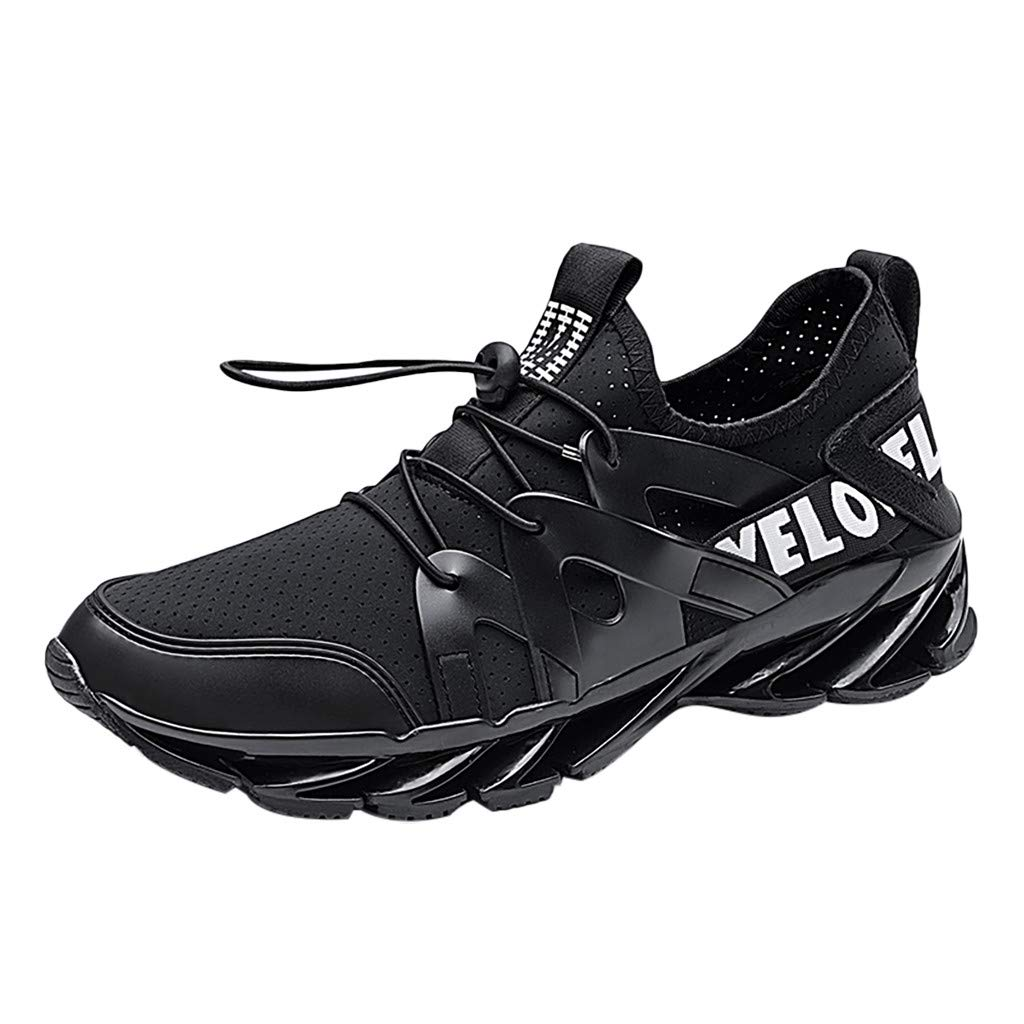 Respctful✿ Mesh Breathable for Men Outdoor Running Sneakers Ultra Lightweight Sneakers Lace Up Black