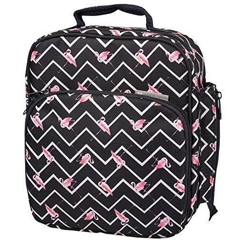 "Insulated Durable Lunch Bag - Reusable Lunch Box Meal Tote With Handle and Pockets, Works with Bentology Bento Box, Bentgo, Kinsho, Yumbox (10""x8""x3.5"") - Flamingo"