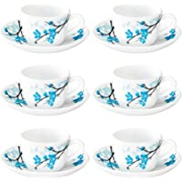 Larah by Borosil Mimosa (LH) Cup and Saucer Set, 140ml, 12-Pieces, White