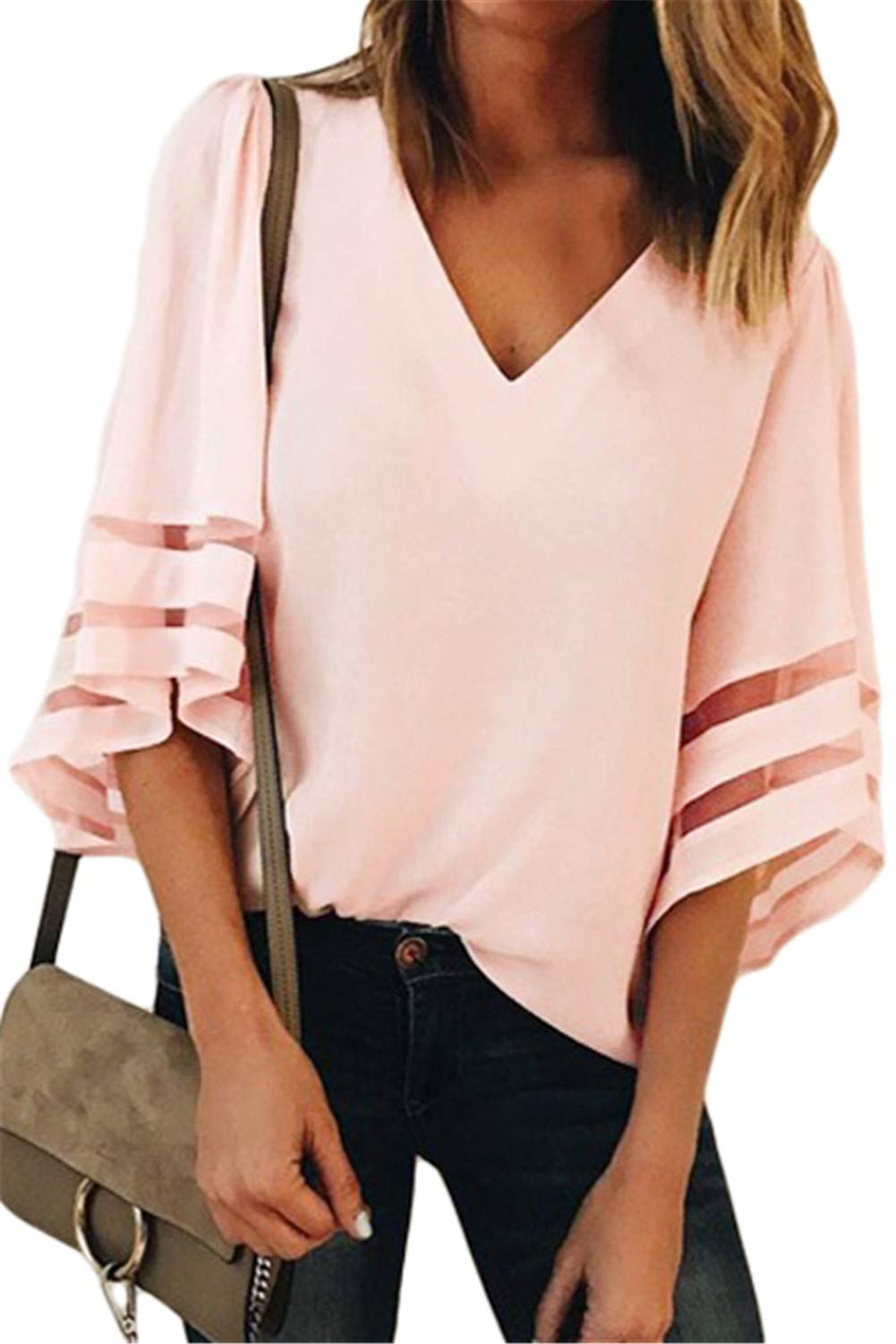 GDL Women Casual V-Neck Bell Sleeve Blouses Mesh Patchwork Chiffon Loose Shirts Tops Pink-M