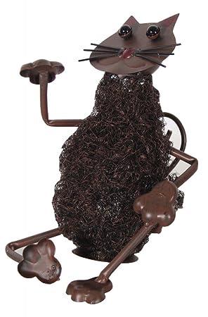 Figura Gato sentado, metal, lana de acero, animales, Figura Decorativa, decoración para jardín: Amazon.es: Jardín