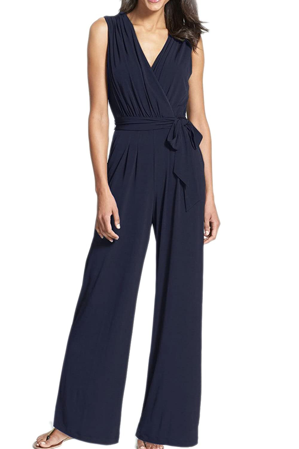 Mupoduvos Womens Summer Elegant V Neck Loose Palazzo Pants Belted Jumpsuit CANZ2478