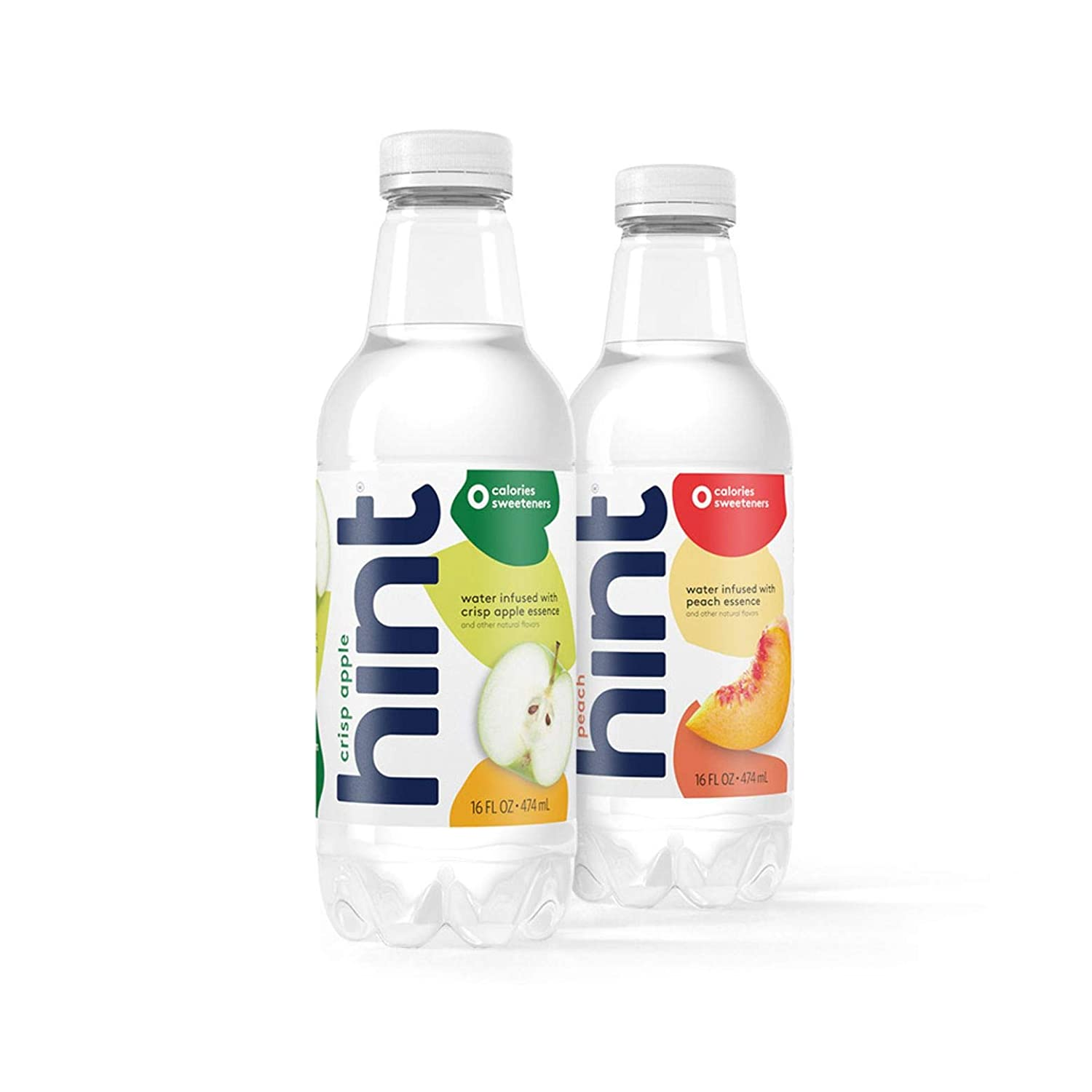 16 oz Hint Water Crisp Apple & Peach Bundle (24 Pack) - 12 Pack Pure Water Infused with Crisp Apple and 12 pack Hint Water Peach