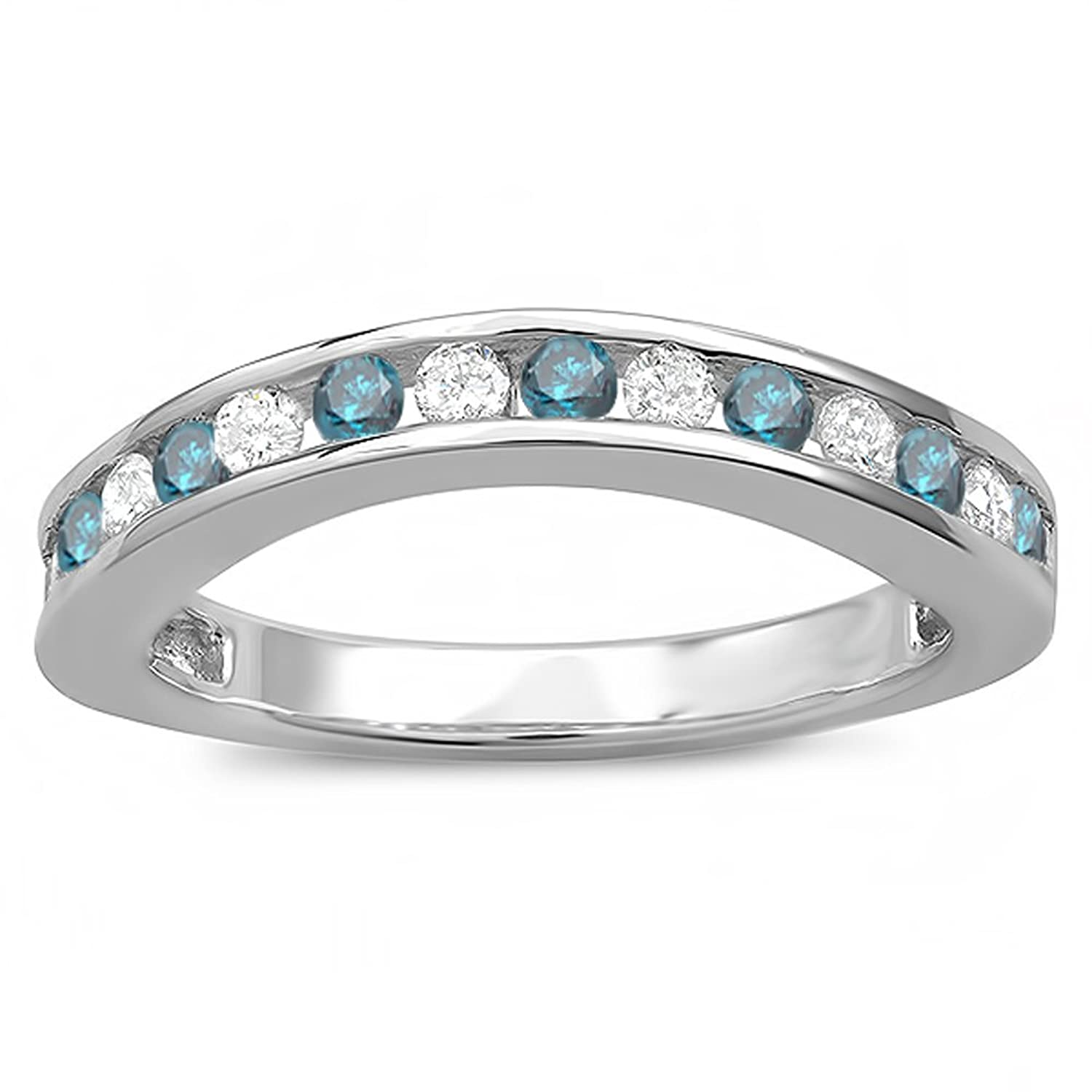 0.75 Carat (ctw) 10k White Gold Round White And Blue Diamond Curved Guard Matching Bridal Wedding Band