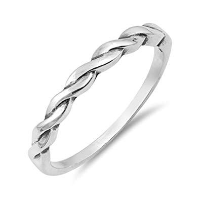 c47647db7a6 Simple Promise Braid Ring for Her Womens Girlfriends .925 Sterling Silver  Trendy Jewelry Sizes 5-10