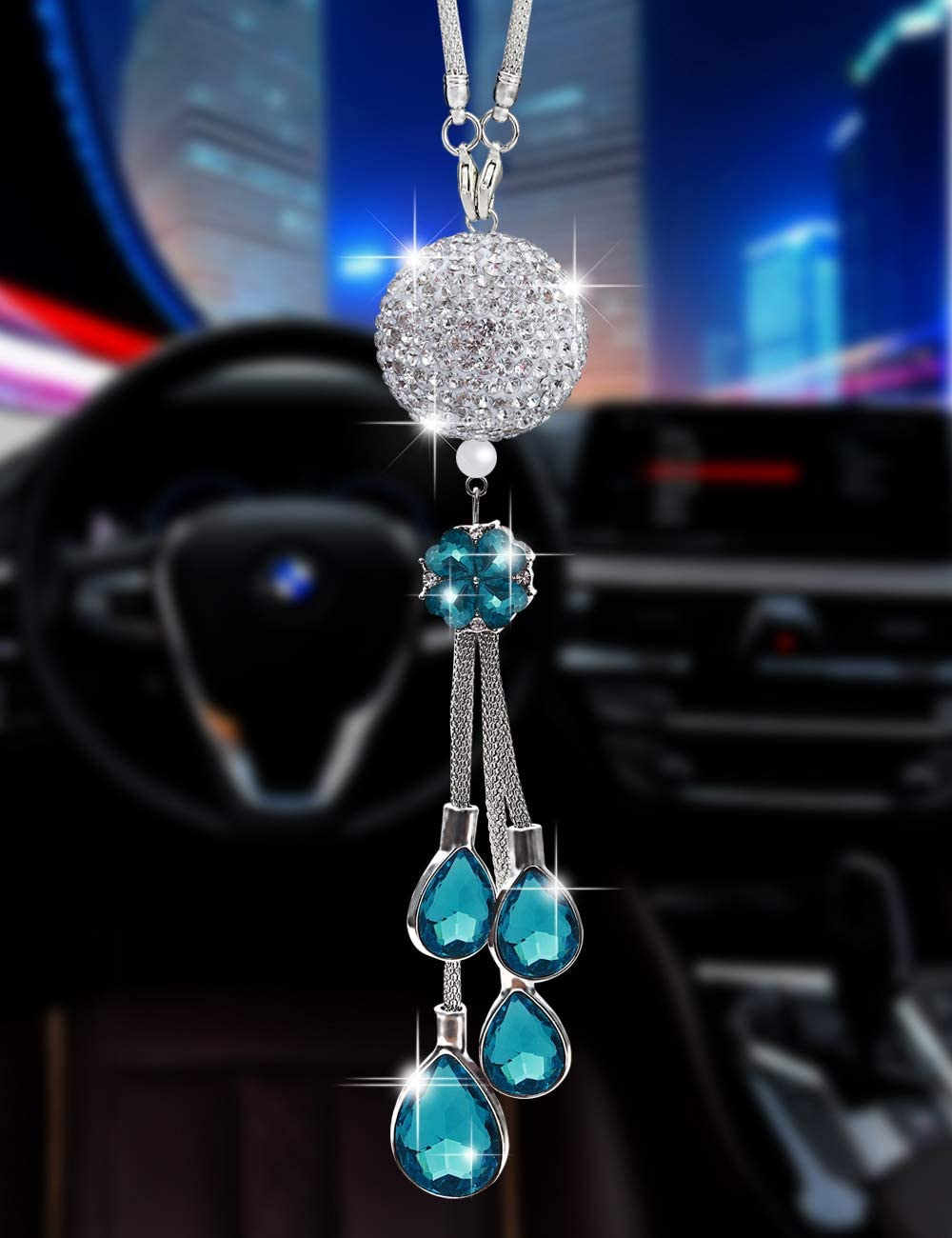 30 mm Clear Light Blue Bling Car Ornament Clear Hanging Crystal Ball Prism Crystals,Lucky Crystal Sun Catcher Ornament,Rear View Mirror Flower Charm Decor Design Pendant Bling Car Accessories