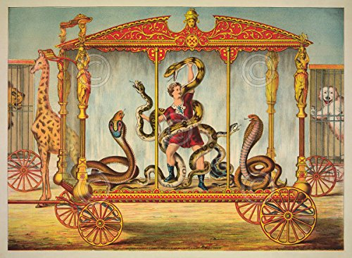 Circus Animals Print - The Snake Wagon by Vintage Reproduction Circus Animals Poster (Choose Size of Print)