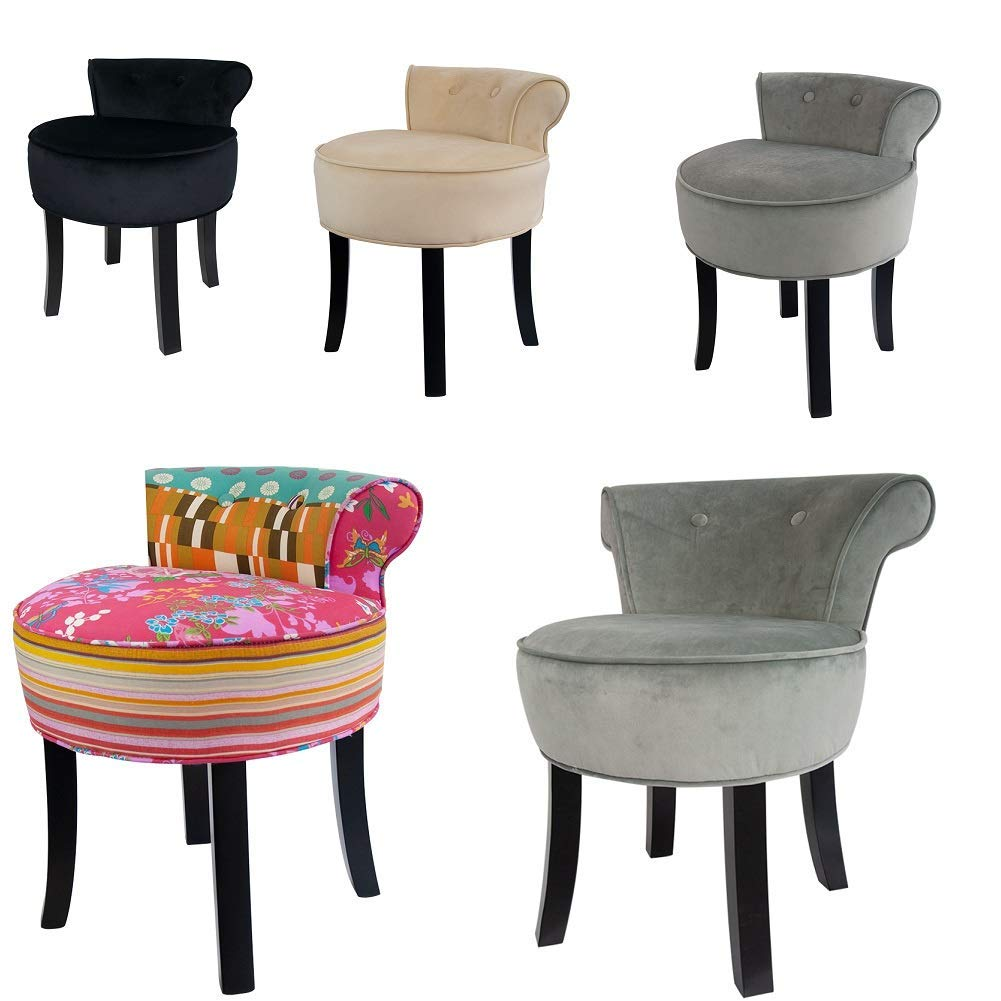 competitive price 0471e a3a80 Hironpal Chenille Dressing Table Chair Makeup Vanity Stool Padded Chair  with Rubberwood Legs at Living Room, Bedroom, Reception etc, L:46CM,  W:49CM, ...