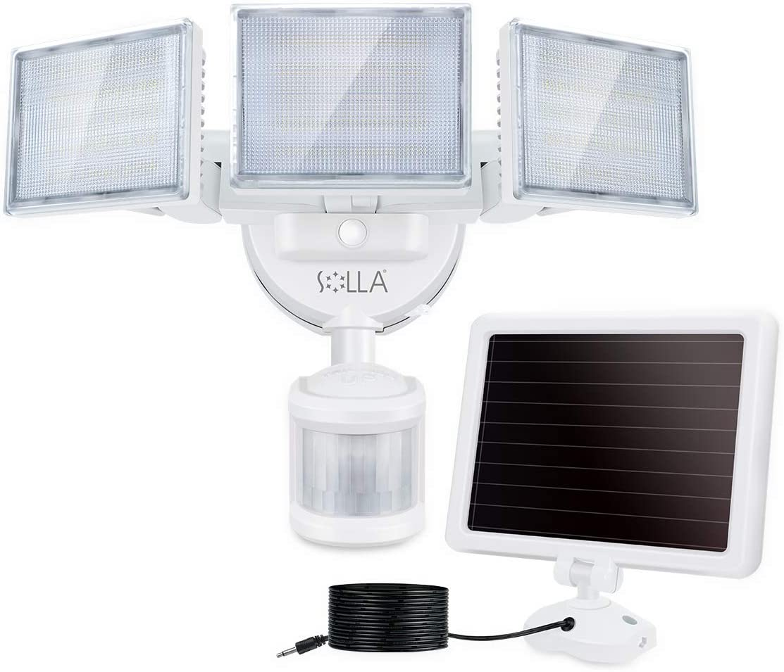 SOLLA 2000LM LED Solar Security Light Outdoor, Motion Sensor Outside Flood Light, 5000K Daylight White Waterproof Exterior Flood Lighting with 3 Adjustable Head for Yard, Driveway, Patio, Garage