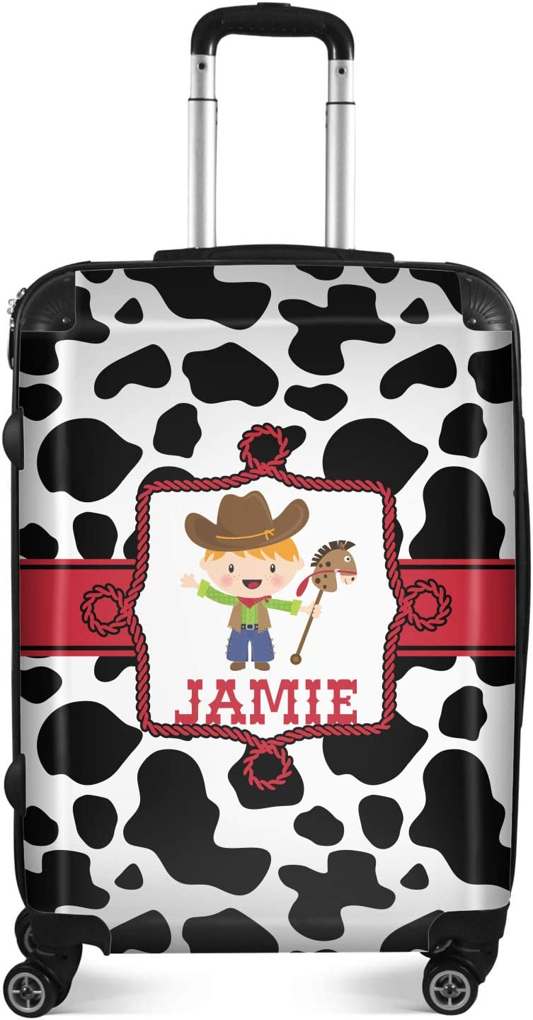 24Medium Cowprint w//Cowboy Suitcase Checked Personalized