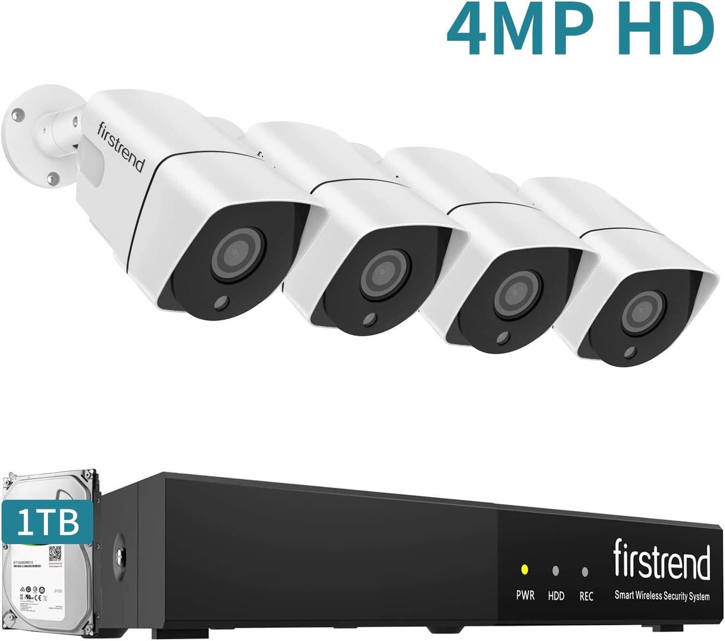 PoE Security Camera System,Firstrend 5MP 8CH NVR with 1TB Hard Drive and 4PCS 4MP P2P Indoor Outdoor Video Camera System 65FT Night Vision Free APP