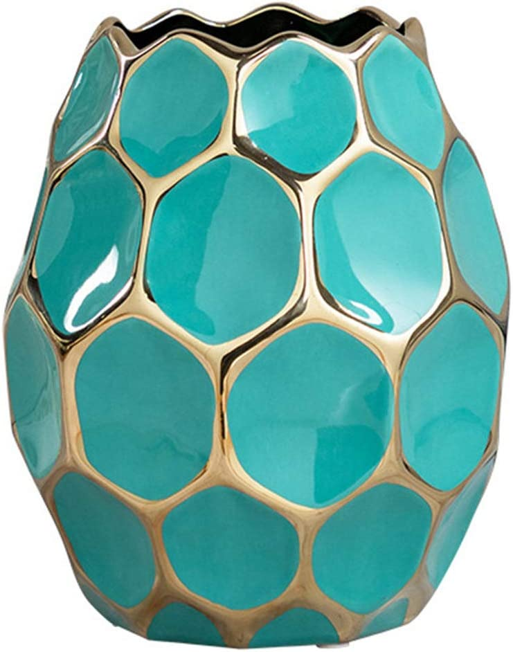 Geometric Flower Vases Honeycomb Shape Ceramic Vase Centerpiece Decoration for Home Decor Living Room and Office,A