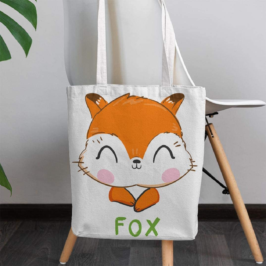 GALMAXS7 Canvas Tote Bag Cute Fox Tote Bag Reusable Premium Canvas Bag Heavy Shoulder Cotton Bag Purse bag for Women Girls Perfect for Shopping, Laptop, School Books