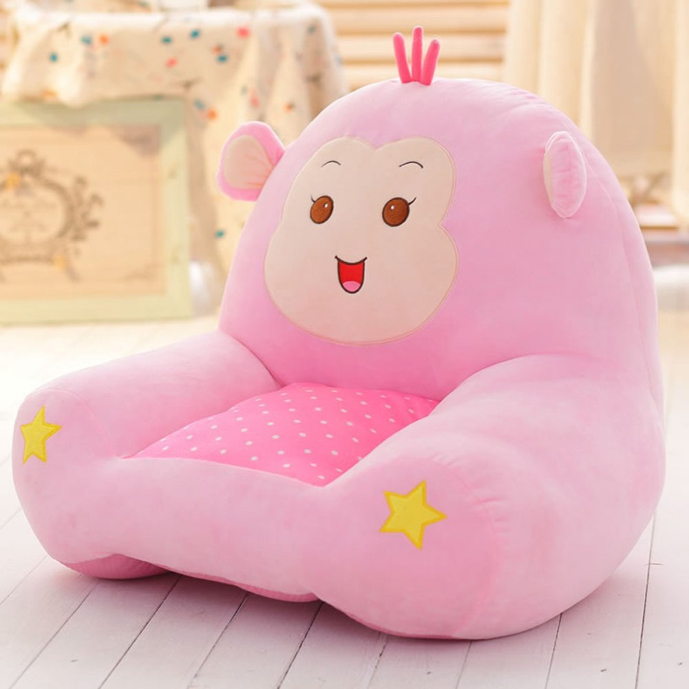 MeMoreCool Cartoon Monkey Small Sofa,Cute Children Sofa Chair Seat.Anti-Skidding Tatami Chair,Baby Chair,Birthday Gifts for Boys and Girls,Pink