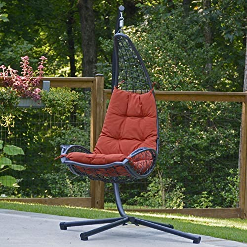 Algoma Net Company 7175RD Cushioned Rattan Wicker Stand Hanging Chair