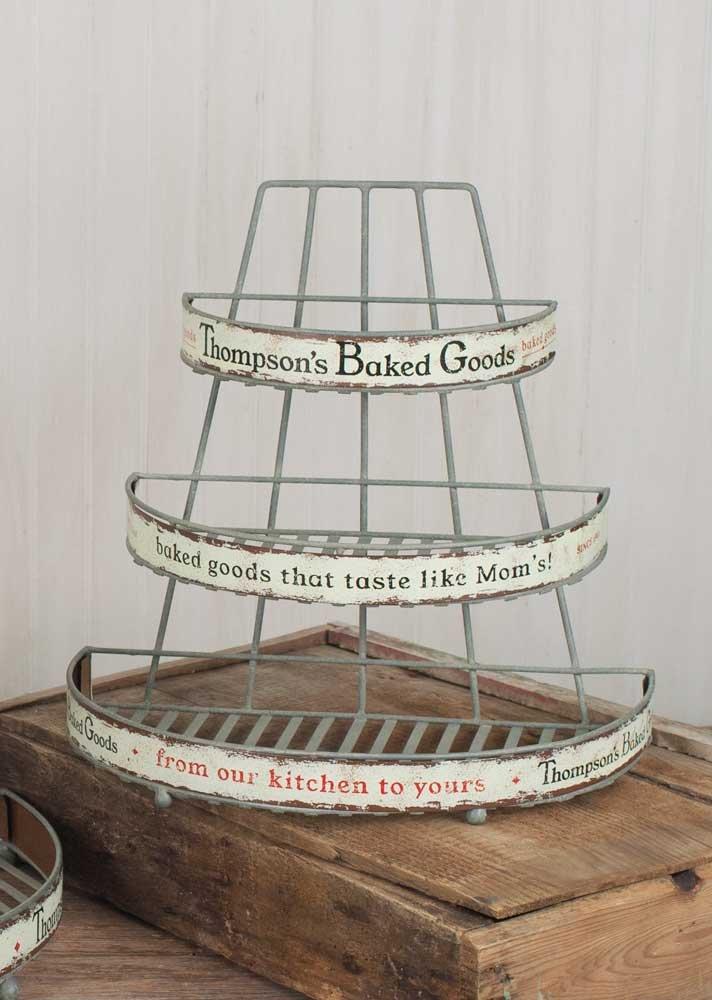 Decorative Vintage Style Advertising Tin Display Shelf 3 Tier Rack
